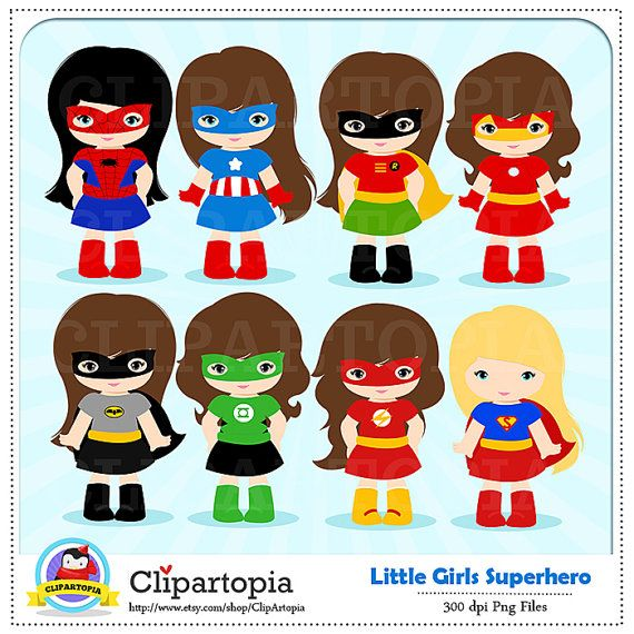 Girl Superhero Clip Art / Little Girls Superheroes / Supergirls.