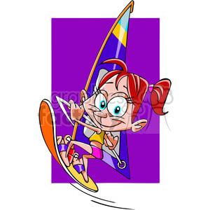 girl wind surfing cartoon clipart. Royalty.