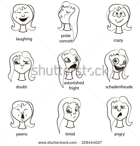 Cartoon Faces Girls Different Emotions Happiness Stock Vector.