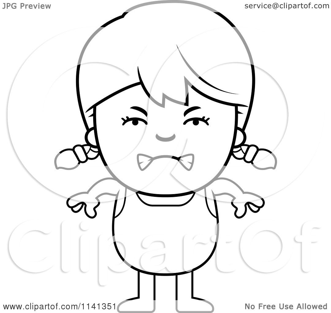 Cartoon Clipart Of A Black And White Angry Girl In A Bathing Suit.