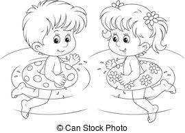girl swimming clipart black and white #11