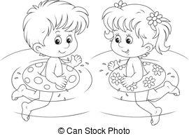 Vectors Illustration of Girl swimmer.