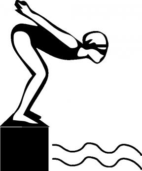 Swimming Clipart Girl Black.