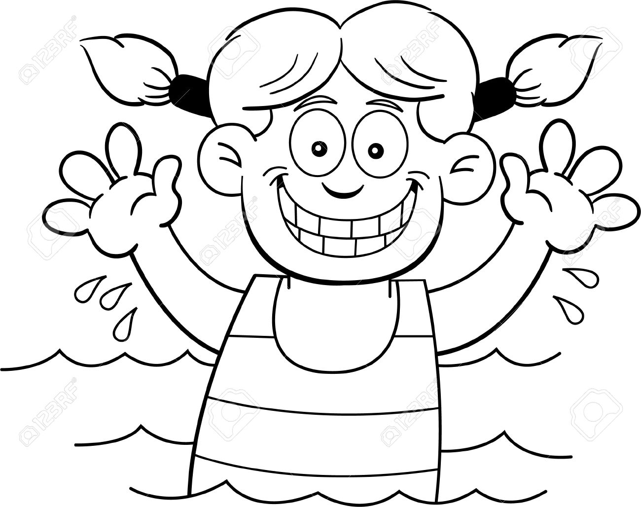 girl swimming clipart black and white #14