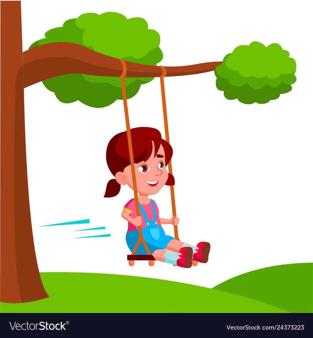 Girl swinging on a swing tied to tree branch.