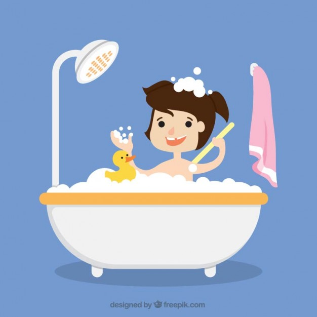 Girl taking a bath with her toy Vector.