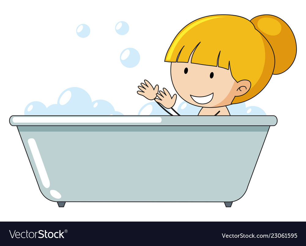 A girl taking a bath.