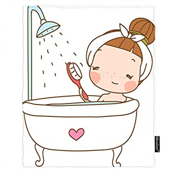 Amazon.com: Moslion Girl Throw Blanket Cute Girl in Bathtub.