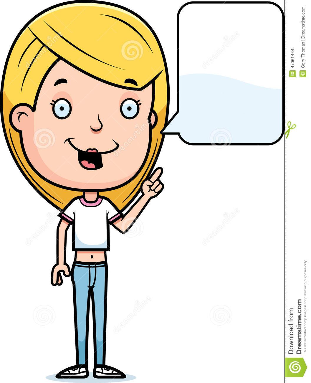 Talking Teen Girl stock vector. Illustration of clipart.