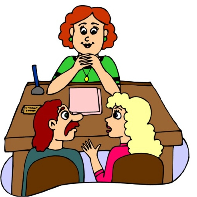 Parents Talking To Girl Clipart.