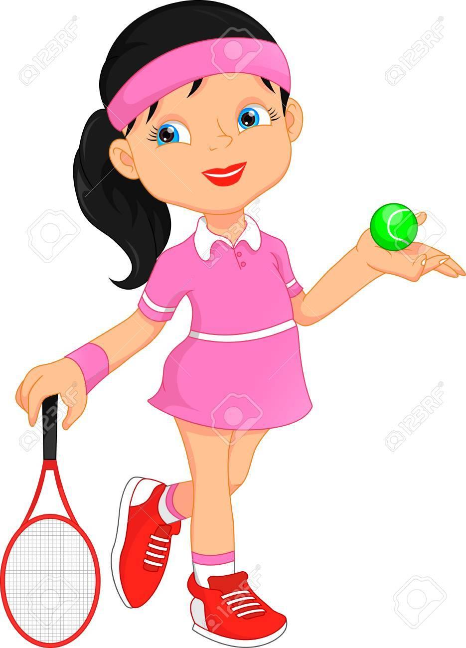 girl tennis player cartoon.