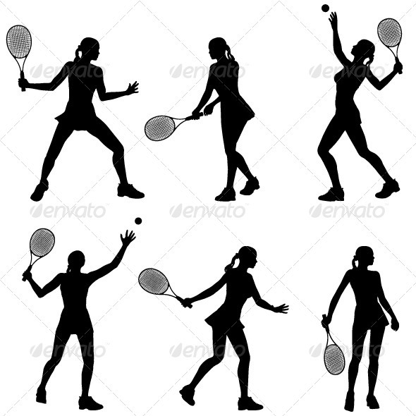 Gallery For > Female Tennis Silhouette Clipart.