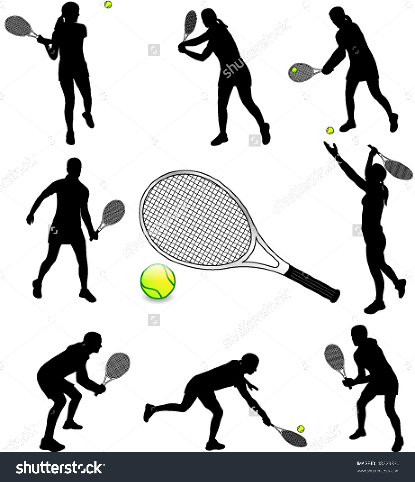 Female Tennis Players Silhouettes Vector Stock Vector 48229330.