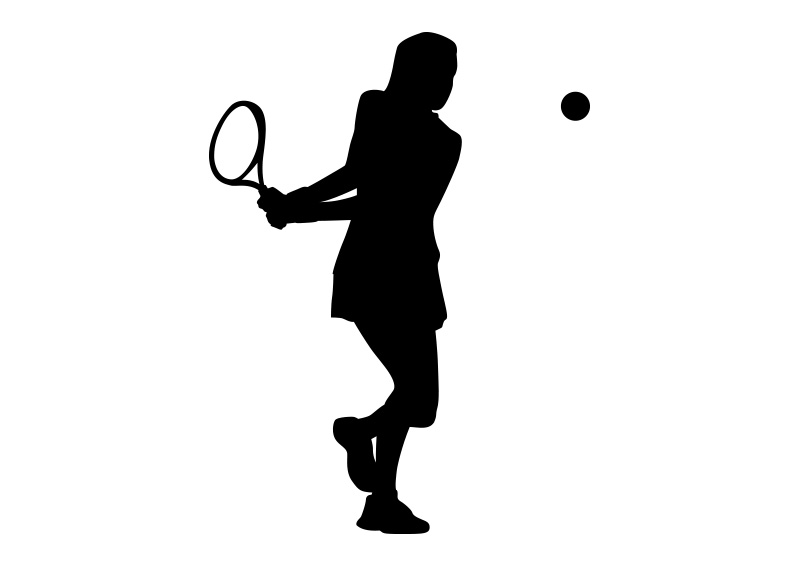 Girl Playing Tennis Black Silhouette On White Background.