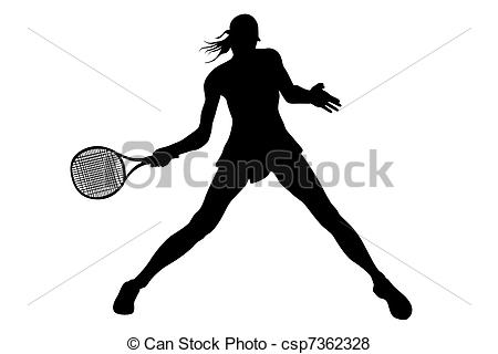 Stock Illustration of Woman tennis player Hand painted.