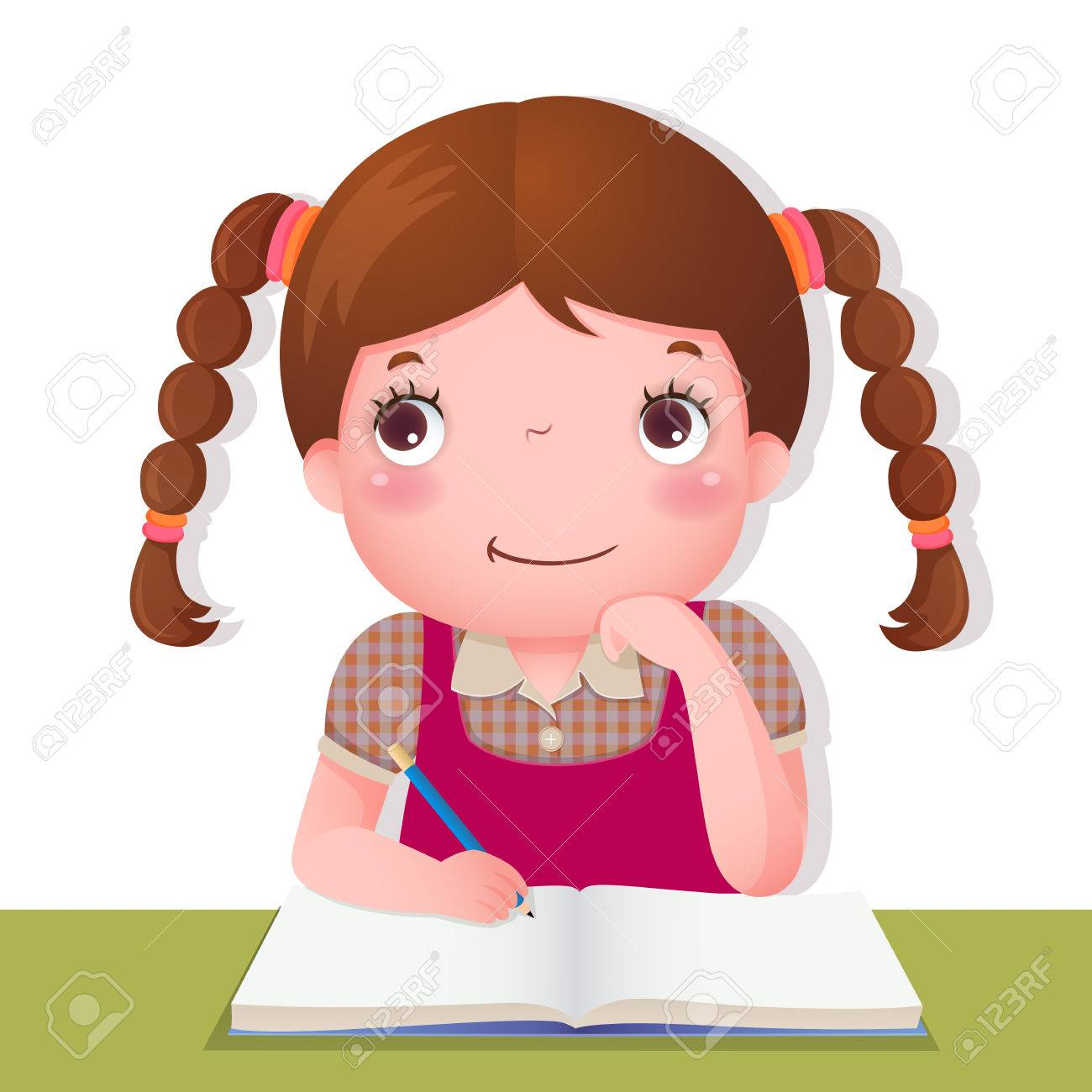 Illustration of cute girl thinking while working on her school...