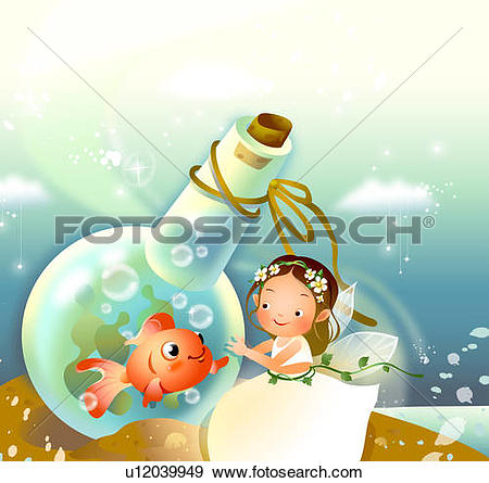 Stock Illustration of Girl looking at a fish trapped in a flask.