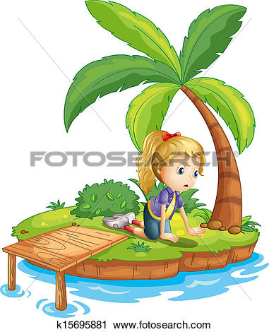 Clip Art of A sad girl trapped in an island k15320647.