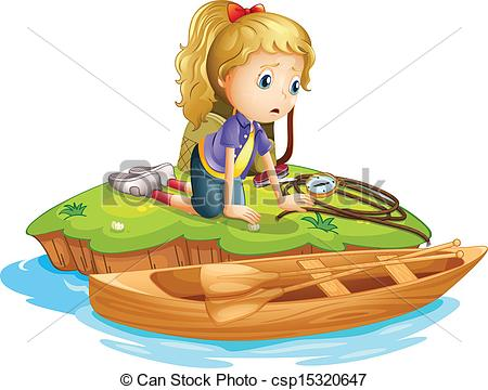 EPS Vector of A sad girl trapped in an island.
