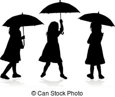 clipart little girl sitting with umbrella silhouette #15