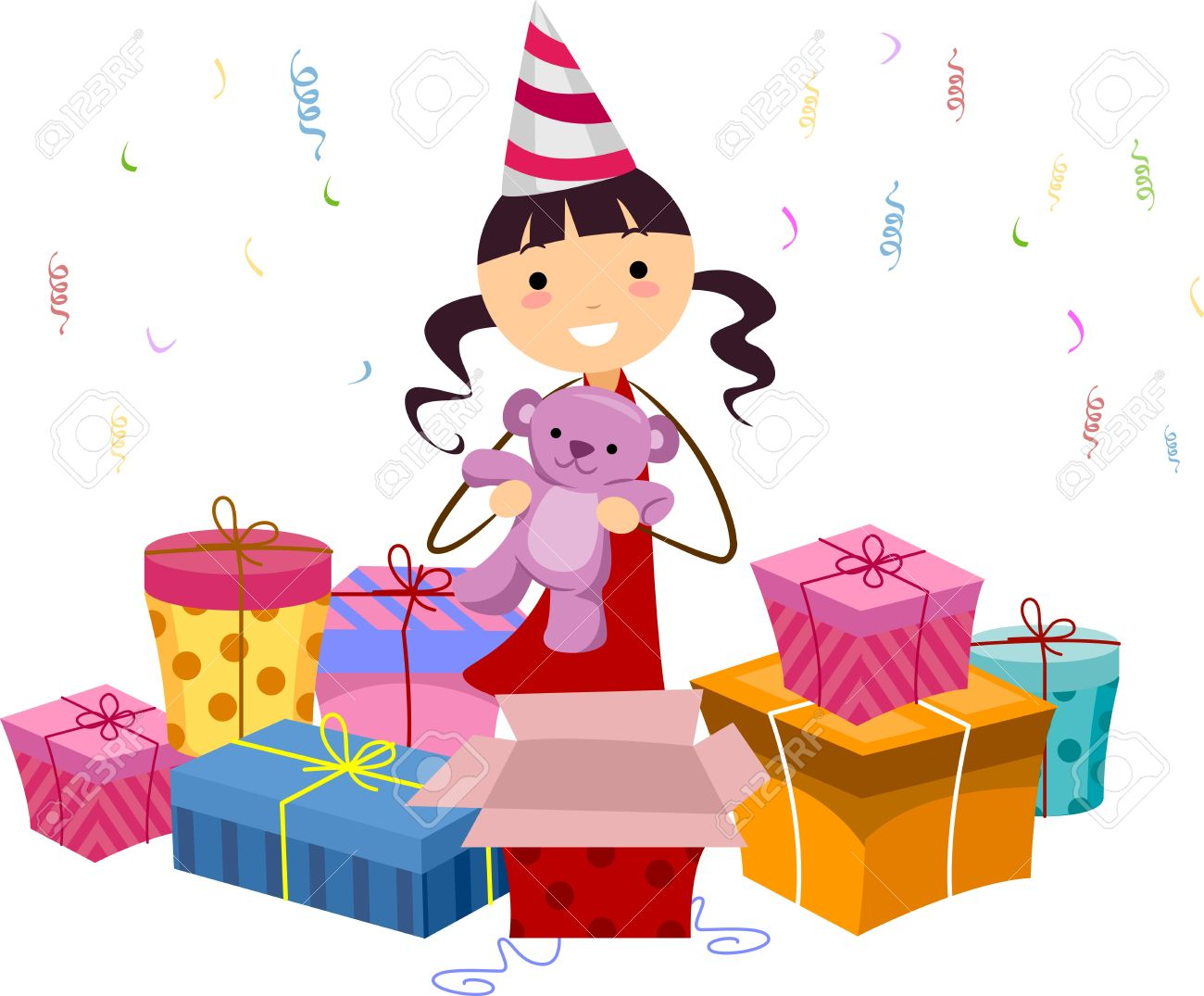 Showing post & media for Little girl opening presents cartoon.
