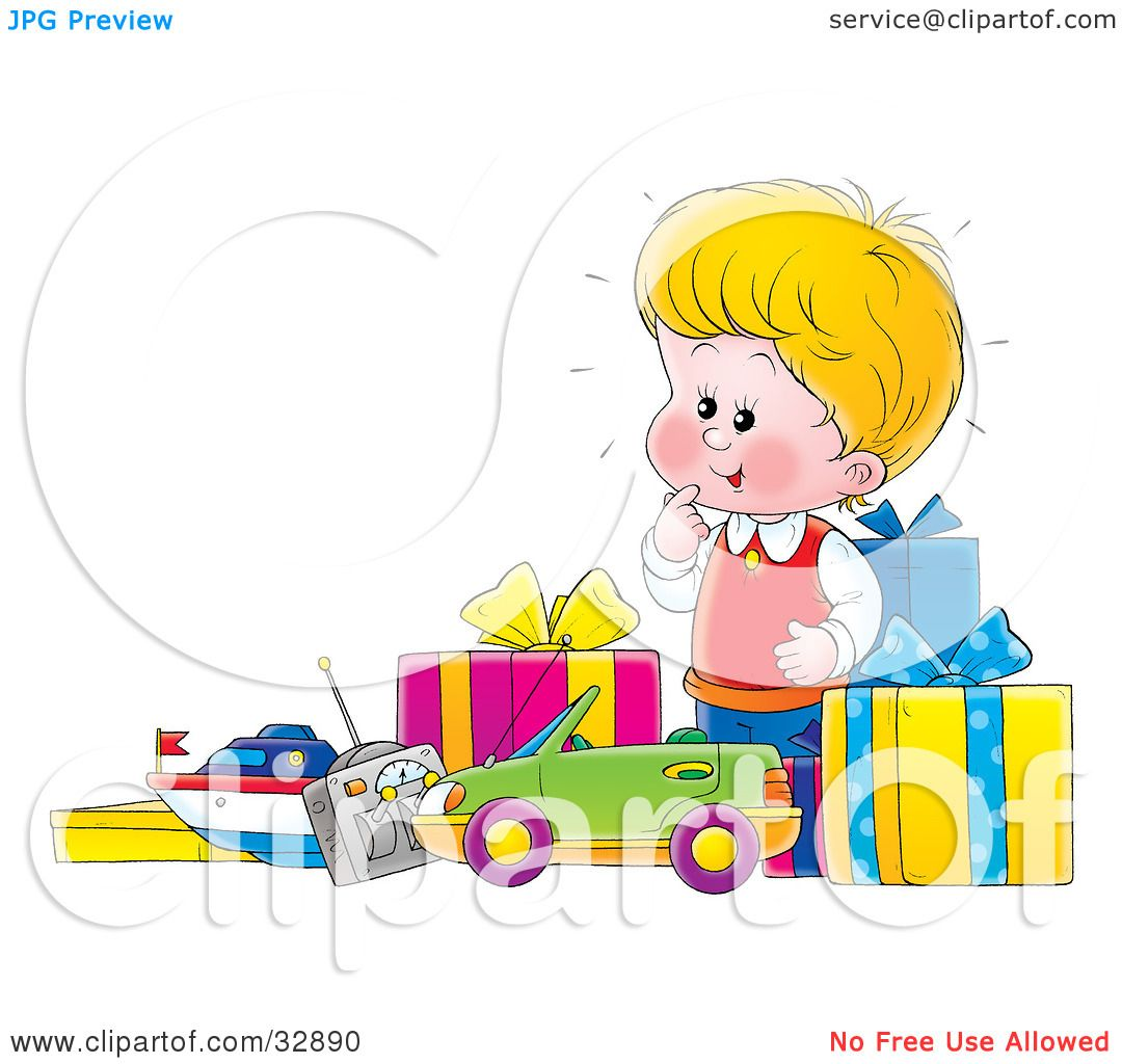 Clipart Illustration of a Little Blond Boy Excited Over His New.
