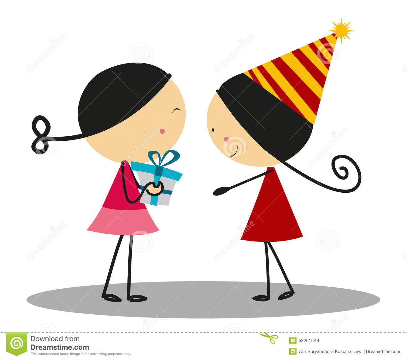 Showing post & media for Cartoon girl with birthday present.