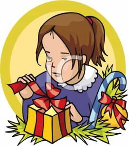 Girl unwrapping birthday present clipart.