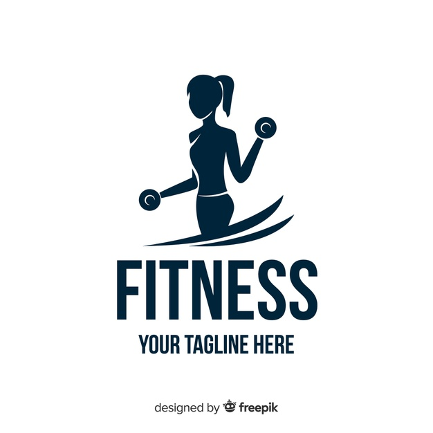 Girl silhouette fitness logo flat design Vector.