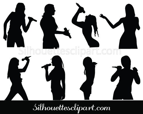 Girls Singing Silhouette Clip art Pack Download.