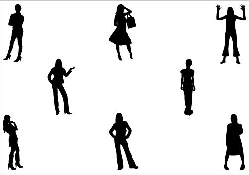 Women Standing Silhouette Vector Download Women Vectors.