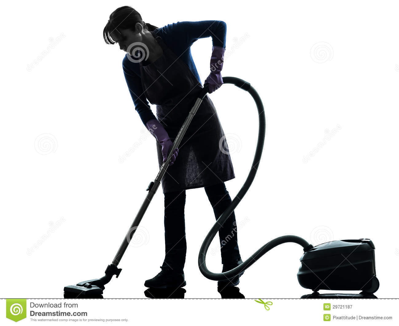 Woman Maid Housework Vacuum Cleaner Silhouette Royalty Free Stock.