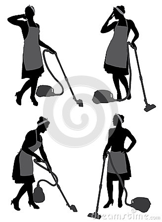 Cleaning Lady With Vacuum Cleaner Stock Images.