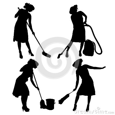 Woman Maid Housework Vacuum Cleaner Silhouette Stock Illustrations.