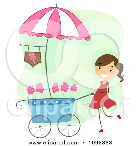Clipart Happy Cotton Candy Vendor Girl Pushing Her Cart.