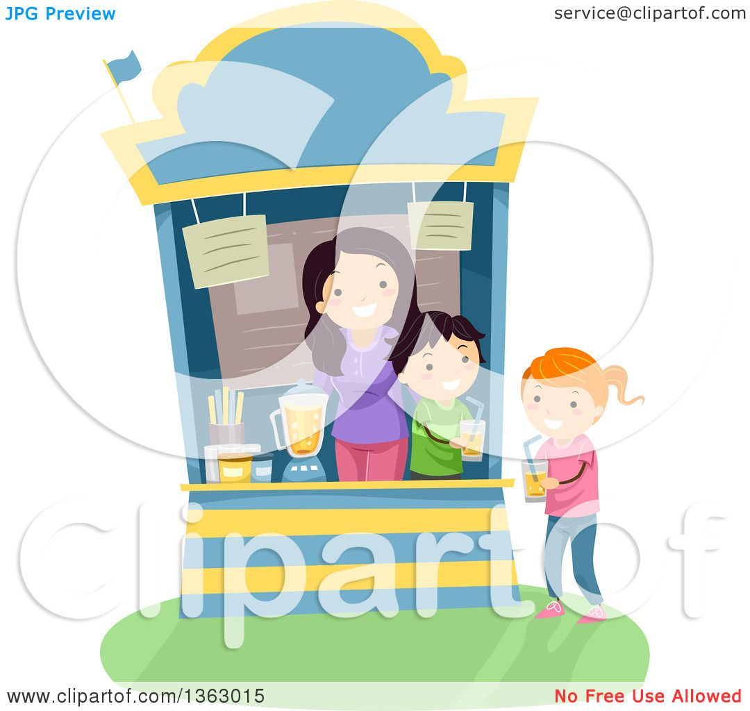 Clipart of a Girl Purchasing a Glass of Juice from a Vendor Stand.