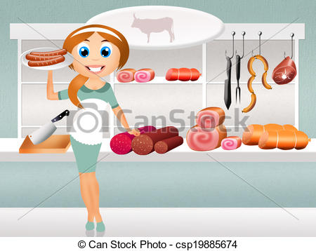 Stock Illustrations of woman in butcher's shop.