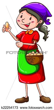 Clipart of A simple sketch of a farm girl k22254173.
