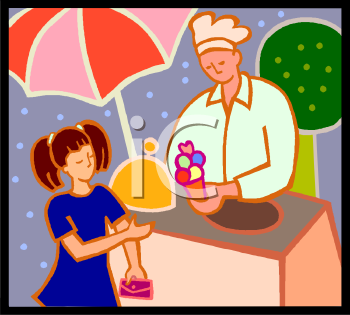 Girl Buying Ice Cream from a Vendor.