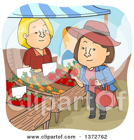 Clipart of a Line of People at a Food Vendor.