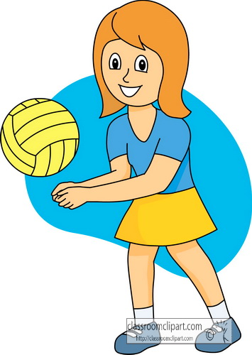 Girls Playing Volleyball Clipart.
