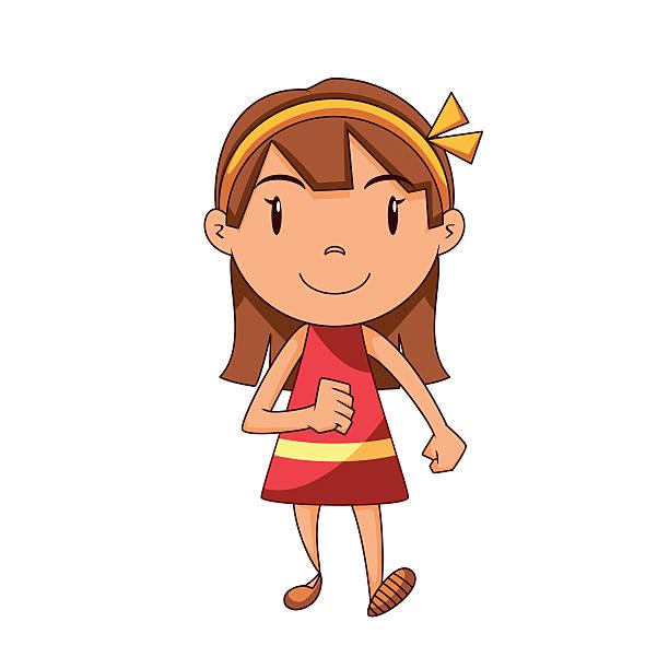 Cartoon Of A Girl Walking Away Clip Art, Vector Images.