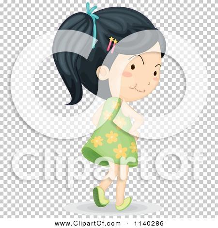 Cartoon Of An Asian Girl In A Green Dress Walking Away.