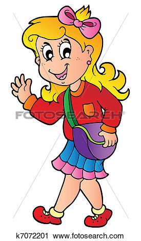 Clipart of Cartoon girl walking to school k7072201.