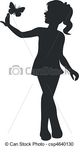 Vector Clipart of girl walking black 11.