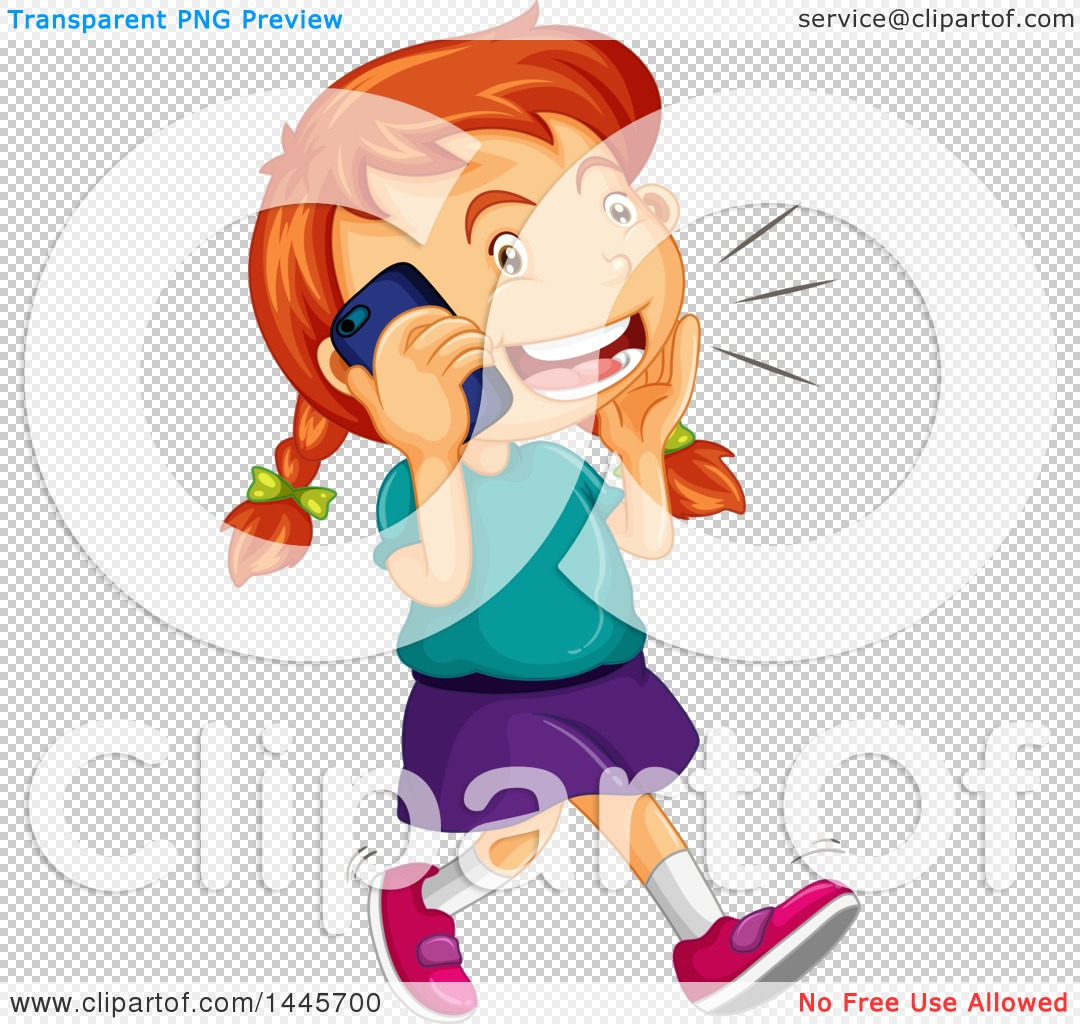 Clipart of a Red Haired Caucasian Girl Walking and Talking on a.