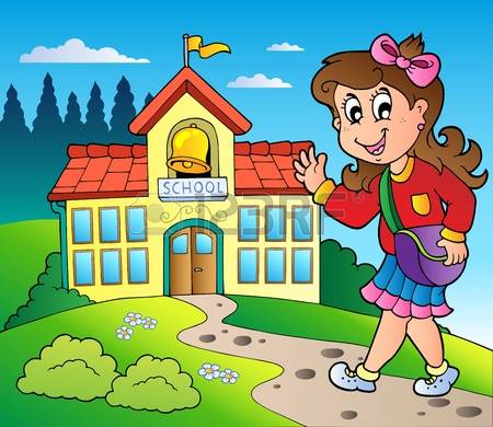 A Girl Walking To School Clipart.