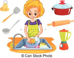 Girl washing dishes clipart 4 » Clipart Station.