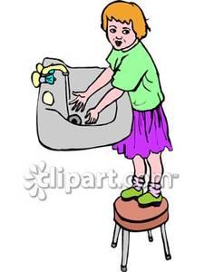Girl Washing Hands Clipart.