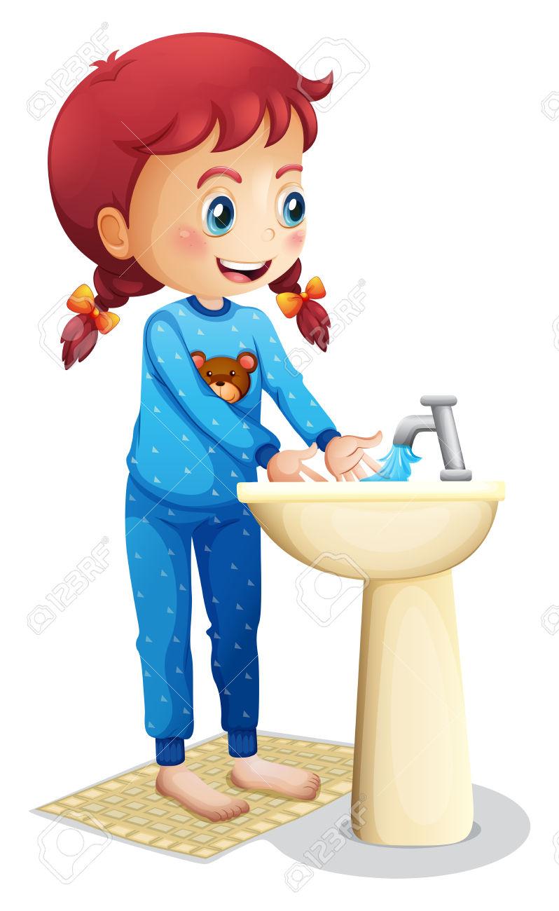 girl washing hands clipart